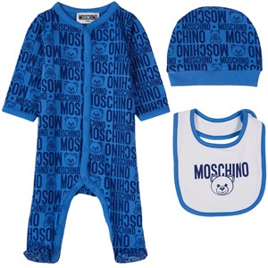 Moschino Kid-Teen 3-delat Bear Print Baby Set Blått 1-3 mån