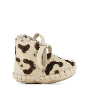 Donsje Amsterdam Pina Exclusive Lining Lära Gå-skor Snow Leopard Spotted Cow Hair 0-6 mån